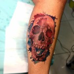 Paint Splashes Background Skull Tattoo