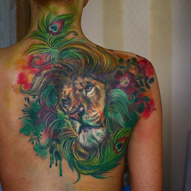 Peacock Feather Lion Tattoo