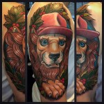 Pink Hat Lion Tattoo