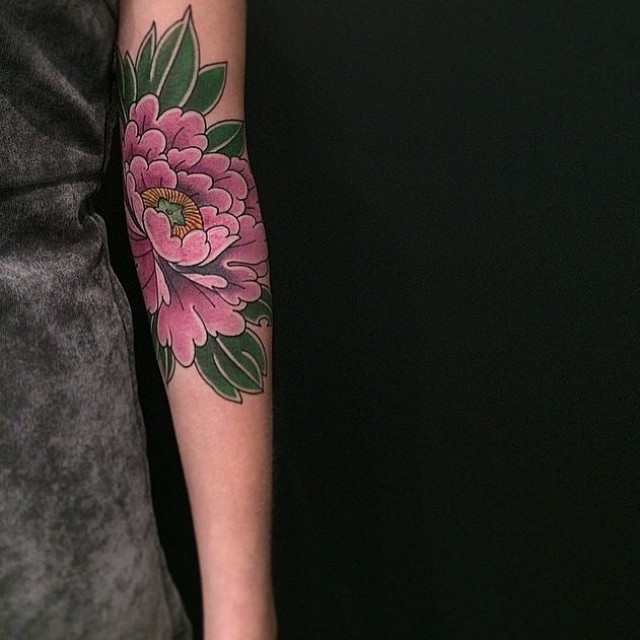Pink Peony Flower Tattoo on Arm