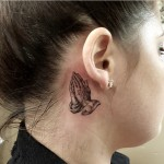 Praying Hands Tattoo Behind Ear