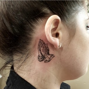 Praying Hands Tattoo Behind Ear