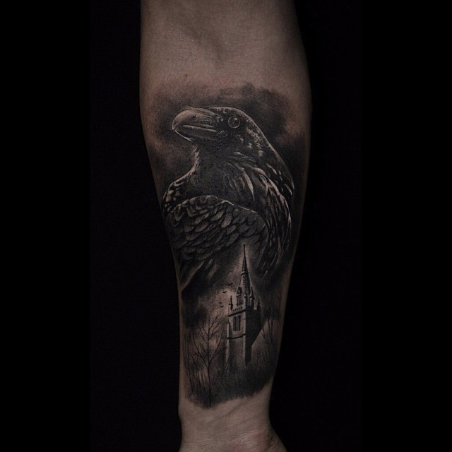 Raven Bird Tattoos