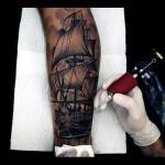 Realistic Graphic Ship Sails Tattoo