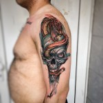 Red Snake Blue Skull Tattoo