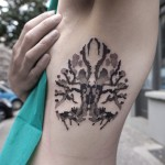 Rorschach Ink Stain Tattoo on Ribs