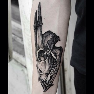 Sabre Teeth Deer Tattoo