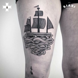 Sail Away Ship Tattoo