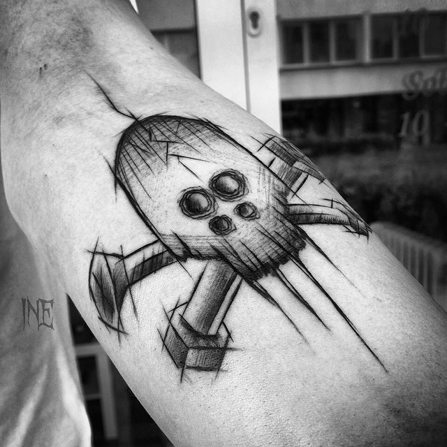 Screw Bolt tattoo on Arm