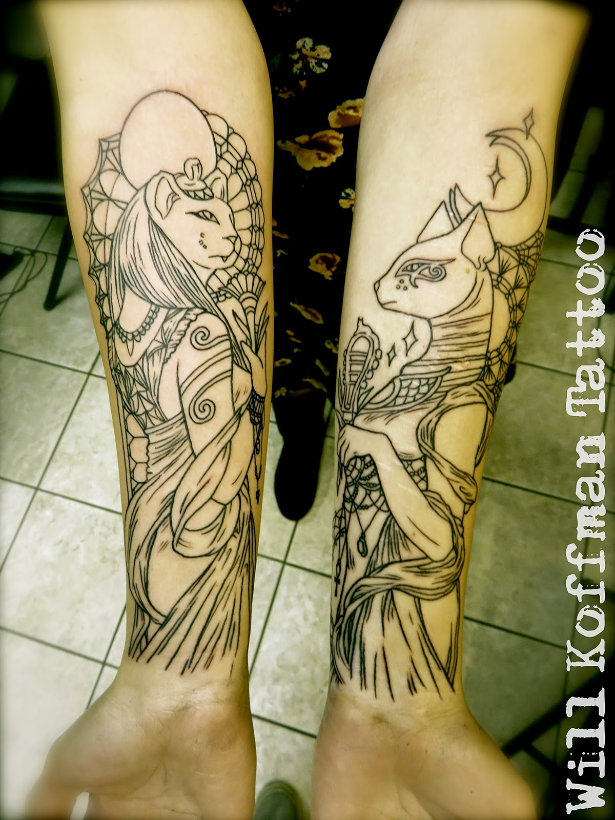 Sekhmet and Bastet Eagypt Tattoos on Arm
