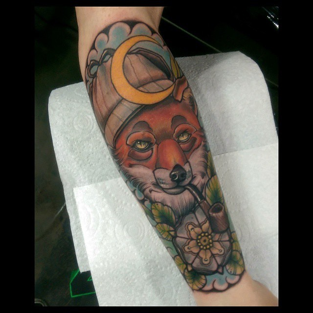 Sherlok Fox Tattoo on Forearm