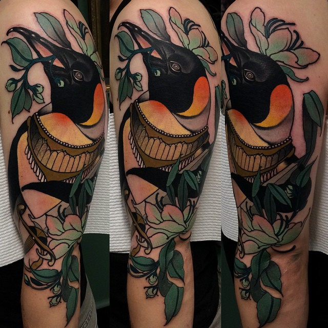 Shoulder Bird Baroque tattoo