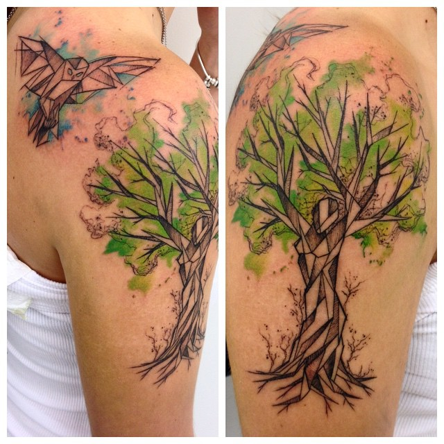 One of the most ancient symbols tree tattoo best for Tree shoulder tattoo