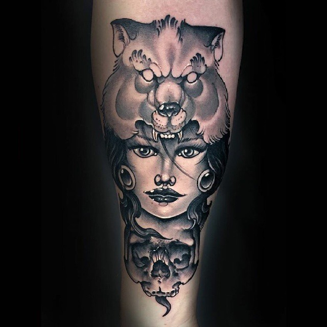 Skull Girl Wolf Arm Tattoo