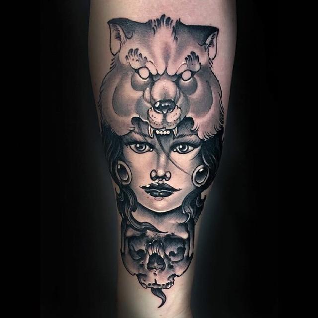 Skull Girl Wolf Arm Tattoo
