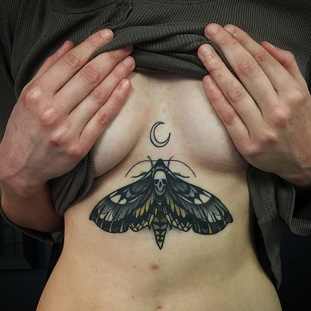 Skull Moon Moth Tattoo
