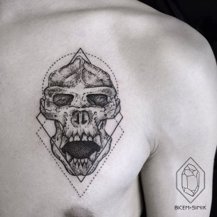 Skull of Demon Chest Tattoo