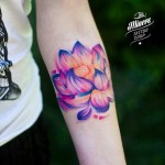 Soft Violet Lotus Tattoo on Arm