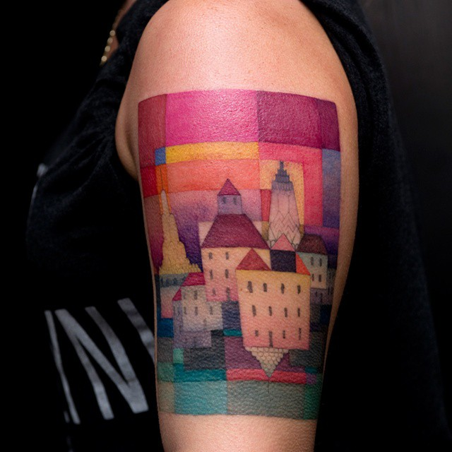 Squared Magic Town Shoulder Tattoo