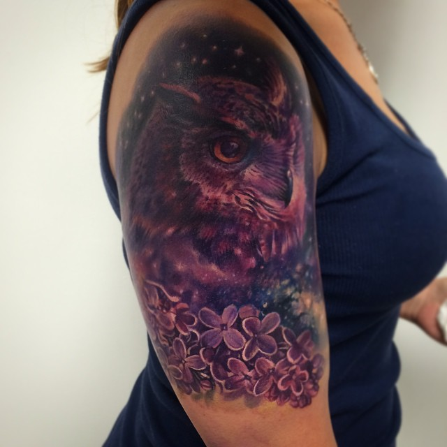 Star Night Owl Tattoo