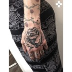 Stone Rose Dotwork Tattoo on Hand