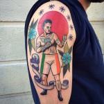 Skull on Fire tattoo on Leg