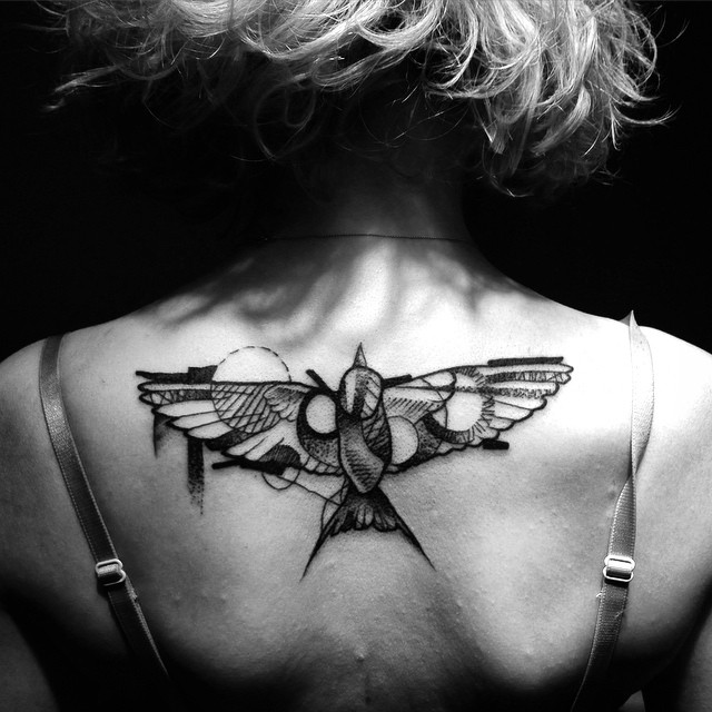 Swallow Graphic Tattoo on Back