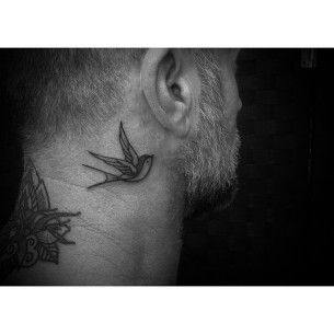 Swallow Tattoo Behind Ear