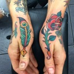 Quill and Rose Tattoos on Hands