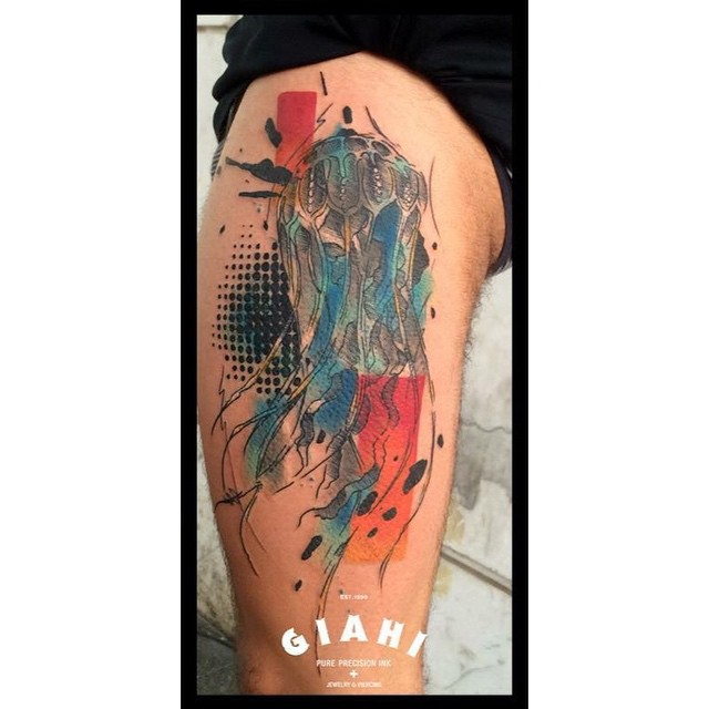 Trash Polka Jellyfish Tattoo