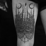 Two Moon Dark Castle Tattoo on Thigh