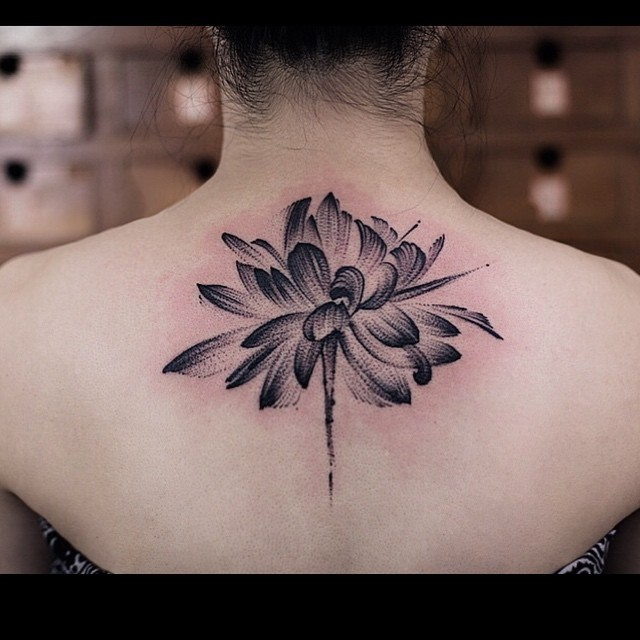 Uneven Brush Lotus Tattoo on Back