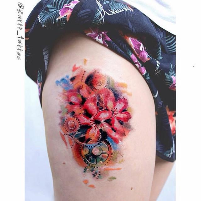Watercolor Flowers Tattoo
