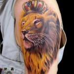 Watercolor Lion Tattoo Design on Shoulder