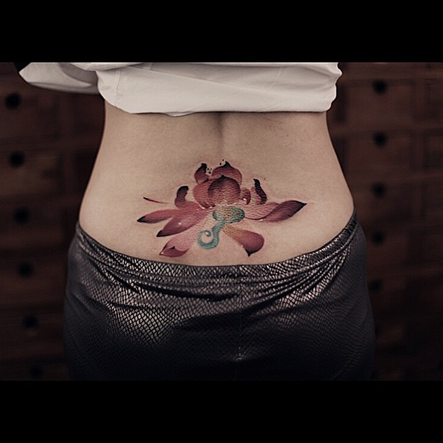watercolor lotus lower back tattoo best tattoo ideas gallery. Black Bedroom Furniture Sets. Home Design Ideas