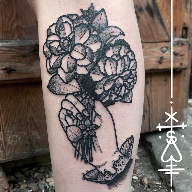black and grey flower tattoos