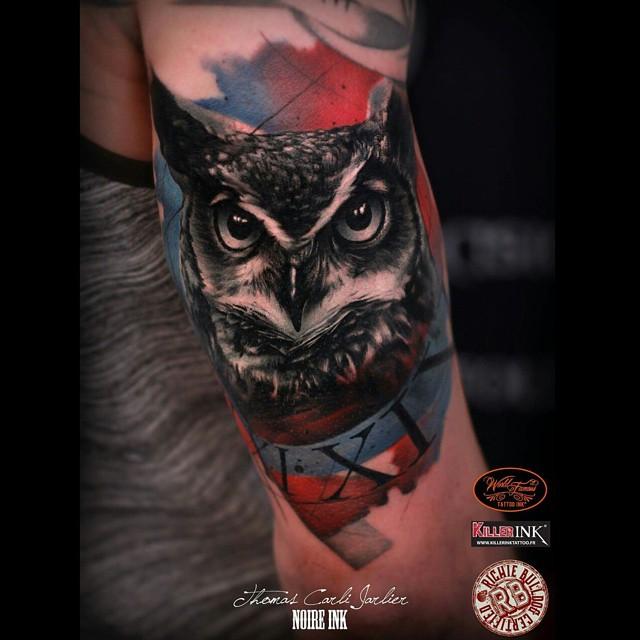 colorful owl tattoos