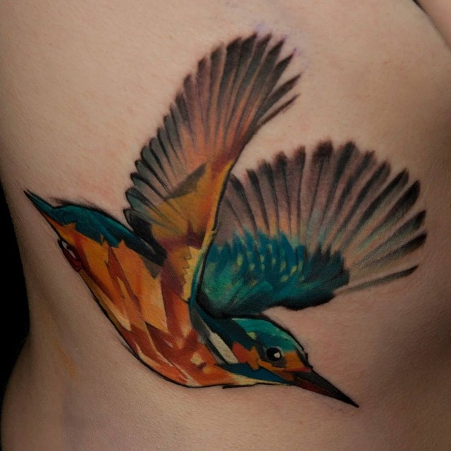 painted bird tattoo