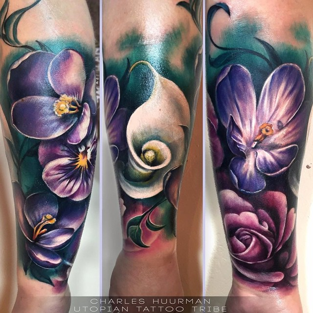 Realistic Flower Tattoos On The Right Forearm Tattoo: Best Tattoo Ideas Gallery