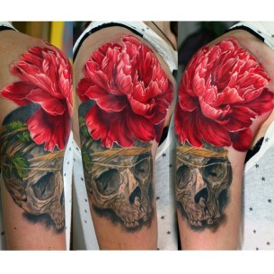 Skull flower tattoo