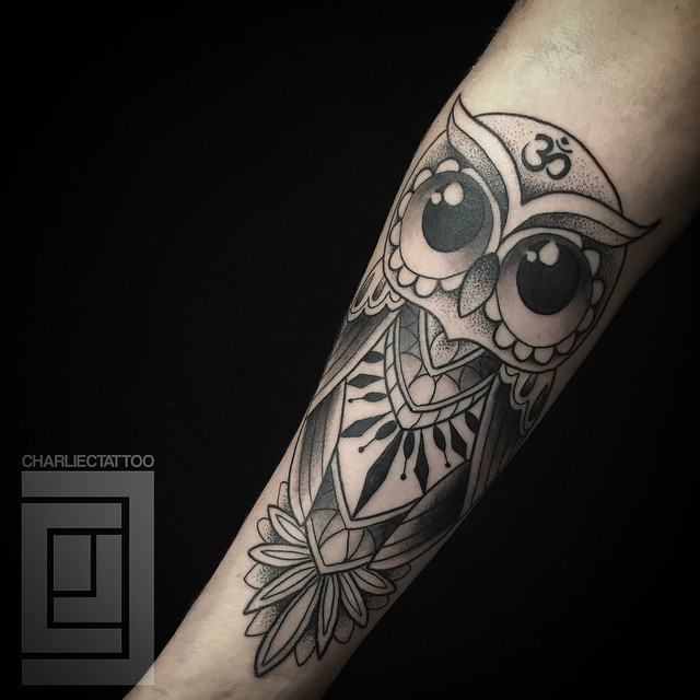 Big Eyes Owl Arm Tattoo
