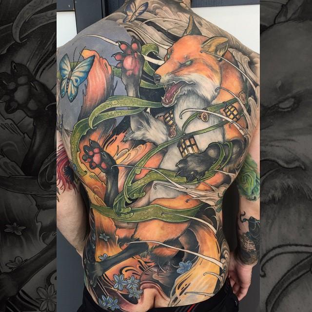 Fighting Fox Tattoo on Back