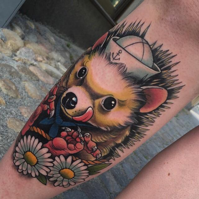 Happy Hedgehog Tattoo on Shin