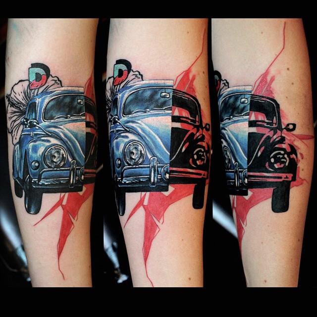 Inside Car Tattoo Trash Polka