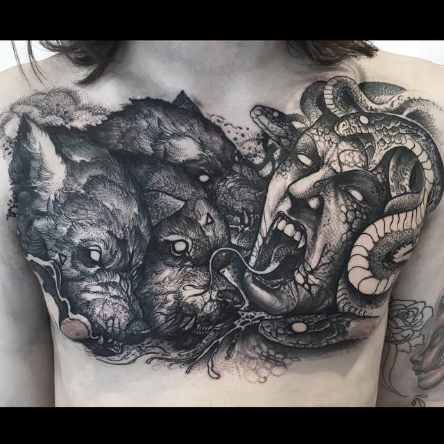 Medusa and Cerberus Tattoo on Chest