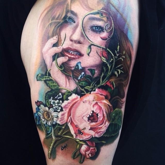 Realistic Girl Portrait Tattoo on Hip