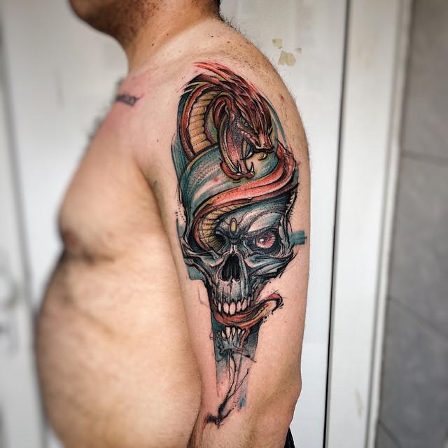 Red Snake Blue Skull Tattoo