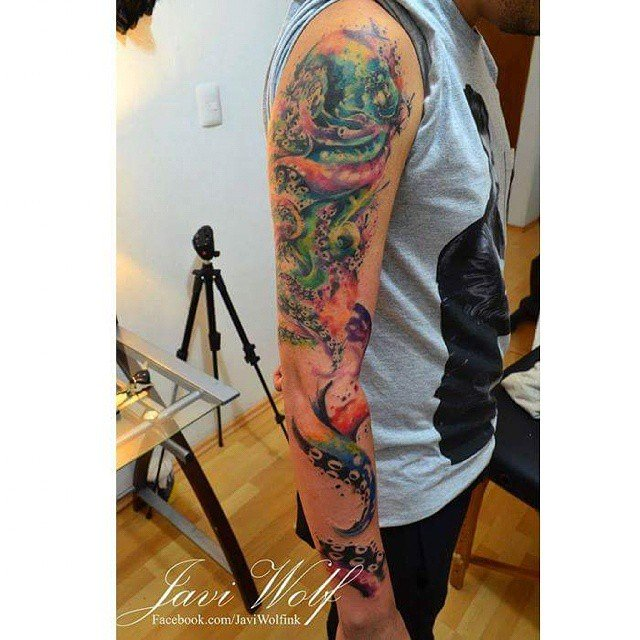 Shoulder and Arm Watercolor Octopus Tattoo
