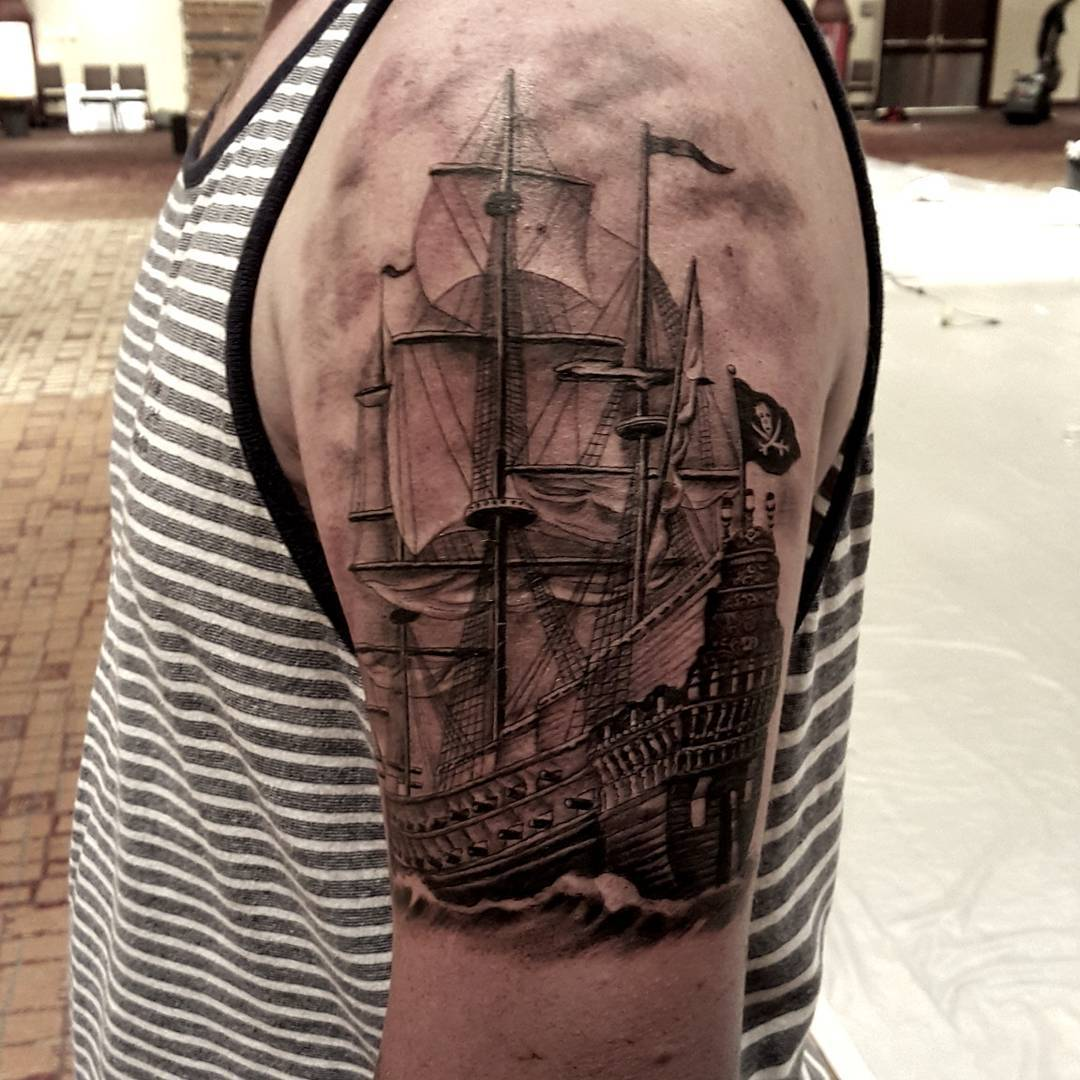 Realistic Pirate Ship Tattoo on Shoulder