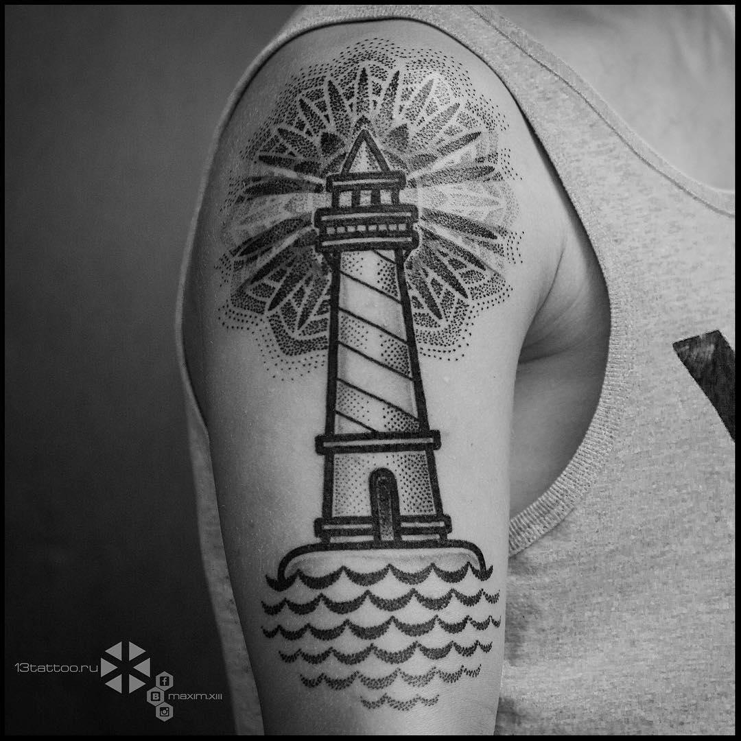 Dotwork Lighthouse Tattoo on Shoulder